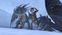 Astrid and Hiccup as the snow wraith starts up a storm
