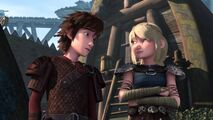 Astrid and Hiccup reacting to what is happening with Fishlegs