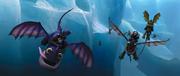Jeźdźcy smoków podczas lotu na Szponiakach Jak Wytrsować Smoka 2