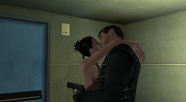 Bond and Dominique kiss in the stairwell (Nightfire, GC)