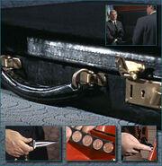 Black leather ttache case frwl