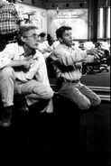 007- Dickey Beer on-set of Tomorrow Never Dies with director Roger Spottiswoode