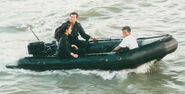 007- Dickey Beer on-set of Tomorrow Never Dies with both leads