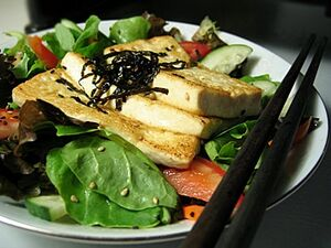 Tofu salad chopsticks