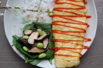Fiona's Japanese Cooking - Omlette - Shitake mushroom spinach edamame - tomato sauce