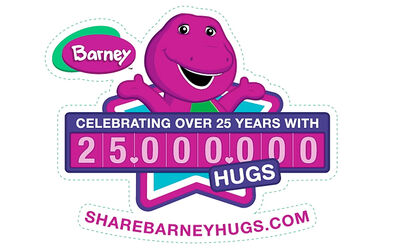 Barney25millionhugslogo
