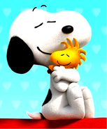 Snoopy Hugging-Woodstock in3d