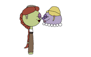 Petunia rhubarb and madame blueberry eskimo kiss