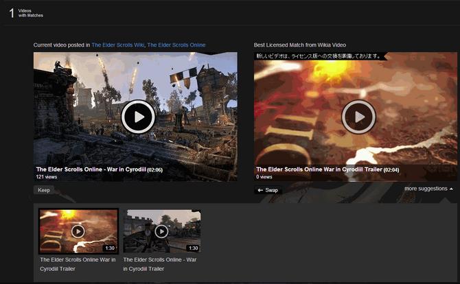スワップ可能な動画とスワップ後の動画が表示されている画面