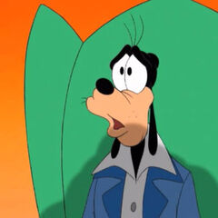 Goofy imagines that Max turns into a huge monster causing the Come on Get Happy song to extend it's ending with the variant.