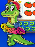 Ollie Gator with his surf board