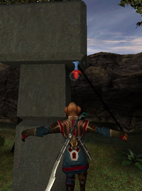 Player hanging on grappling hook