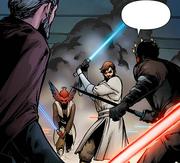 Obi-Wan sieht Dooku mit Maul