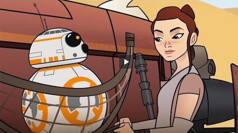 Star Wars Forces of Destiny Rey and BB-8 Find Trouble