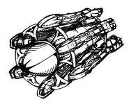 Extragalaktischesflugobjekt seitl-vorderansicht