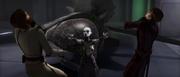Ventress würgt Anakin und Obi-Wan