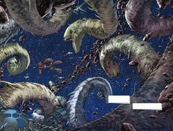 Exogorths verschlingen die Asteroiden rund um Omonoth