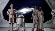 Luke, Leia, R2, 3PO vor einer Galaxis