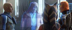 Obi-Wan spricht mit Ahsoka, Bo-Katan und Rex