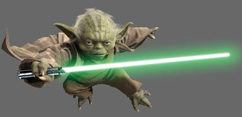 Yoda mit Lichtschwert