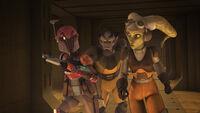Sabine, Zeb und Hera auf der Flucht