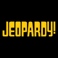 Jeopardy! Logo in Black Background in Gold Letters