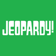 Jeopardy! Logo in Green Background in White Letters
