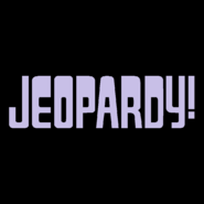 Jeopardy! Logo in Black Background in Lavender Letters