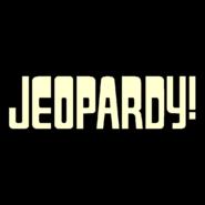Jeopardy! Logo in Black Background in Cream Letters