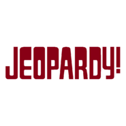 Jeopardy! Logo in White Background in Burgundy Letters