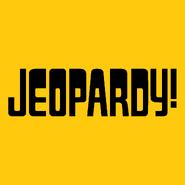 Jeopardy! Logo in Gold Background in Black Letters