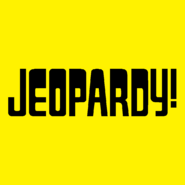 Jeopardy! Logo in Yellow Background in Black Letters
