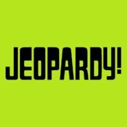 Jeopardy! Logo in Light Green Background in Black Letters