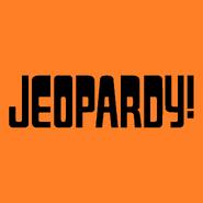 Jeopardy! Logo in Orange Background in Black Letters