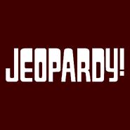 Jeopardy! Logo in Dark Brown Background in White Letters
