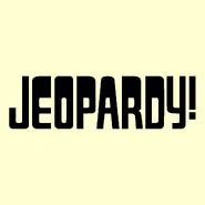 Jeopardy! Logo in Cream Background in Black Letters