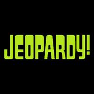 Jeopardy! Logo in Black Background in Light Green Letters