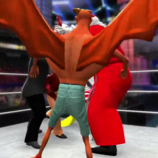 Grandpa trying to fight 4 shitty characters at once, while Bat Boy is covering the view with his large wings and chest as usual