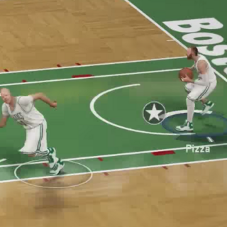 Glue Man (In the left) passing the ball to Frank Pizza (In the right)