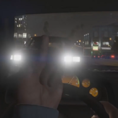 Mr. Sneak Man doing the middle finger at the car that a frame later hits him making him fly out of his car and die by hitting the ground.