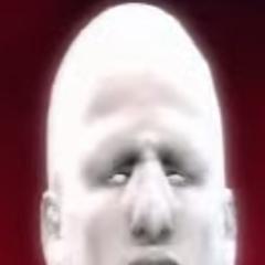 A close up of Glue Man's face