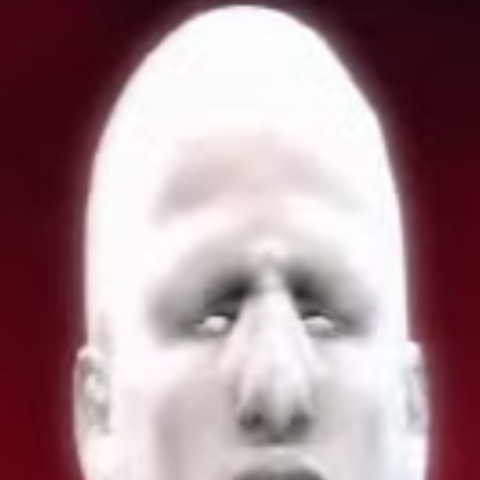 A close up on Glue Man's face