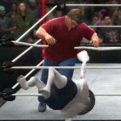 The Egg getting tossed out by Gabe Newell in the first Jerma Rumble
