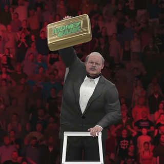 Dr. Oetker after winning the Ladder Match.