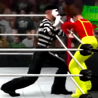 The Mime having the Slim Jim Guy on the ropes.