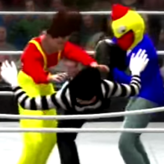 The Mime being double teamed by Candyman and the Slim Jim Guy.