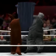 Glue Man getting double teamed by The Giant Rat and Count Chocula moments before getting eliminated