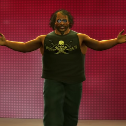 Big Boy Byeah making his way to the ring in the first jerma rumble