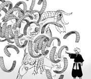 Gabimaru destroys Centipede Doshi's arm