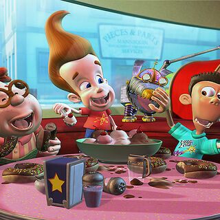 Jimmy, Carl, Sheen and Goddard at the Candy Bar